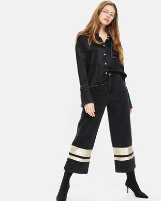 Topshop MOTO Stripe Hem Cropped Wide Jeans