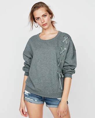 Express One Eleven Shoulder Lace-Up Sweatshirt