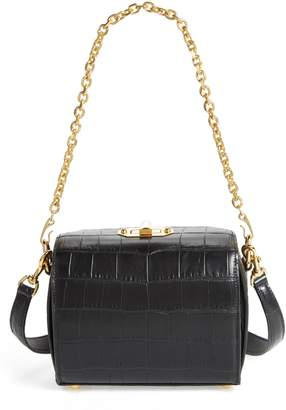 Alexander McQueen Box Bag 19 Croc Embossed Leather Bag