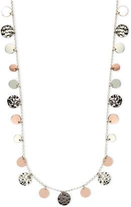 Nine West Necklace, Tri-Tone Hammered Disc Necklace