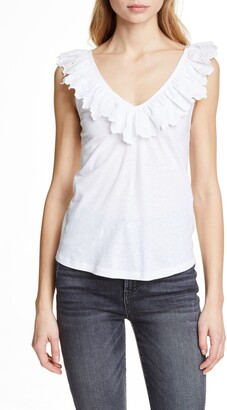 Rebecca Taylor Embroidered Ruffle Linen & Cotton Top
