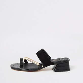 River Island Black asymmetric toe ring sandals