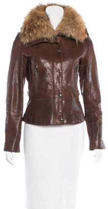 Andrew Marc Fur-Trimmed Leather Jacket $295 thestylecure.com