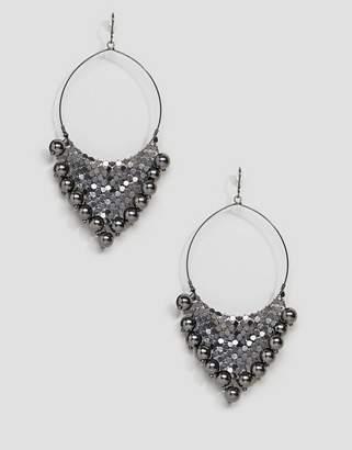 Asos Design Chainmail Ball Charm Hoop Earrings
