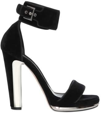 Alexander McQueen 120mm Velvet Sandals With Metal Detail