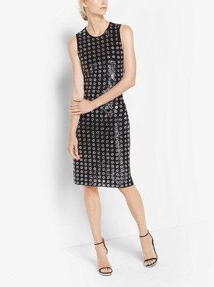 Michael Kors Sequined Mirror-Embellished Sheath Dress