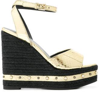 Versace metallic wedge sandals