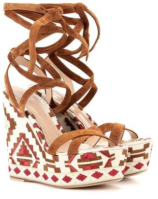 Gianvito Rossi Cheyenne Wedge suede sandals