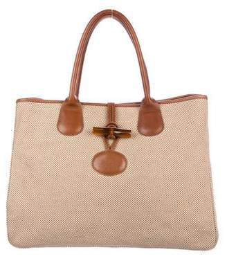 Longchamp Leather-Trimmed Roseau Tote