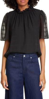 Rebecca Taylor Daybreak Short Sleeve Silk Top