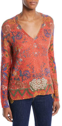 Etro V-Neck Floral-Intarsia Knit Sweater w/ Paillettes