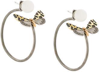 Astley Clarke Crimson Speckled Moth hoop earrings