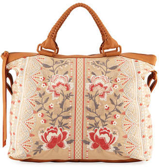 Johnny Was Calida Overnight Embroidered Canvas Tote Bag