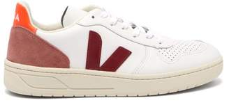 Veja V 10 Low Top Leather Trainers - Womens - Burgundy White