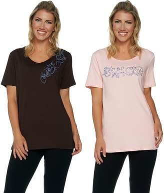 Factory Quacker Set of 2 Floral Vines Short Sleeve T-shirts