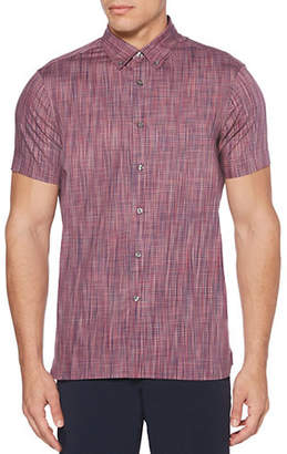 Perry Ellis Space Dyed Cotton Button-Down Shirt