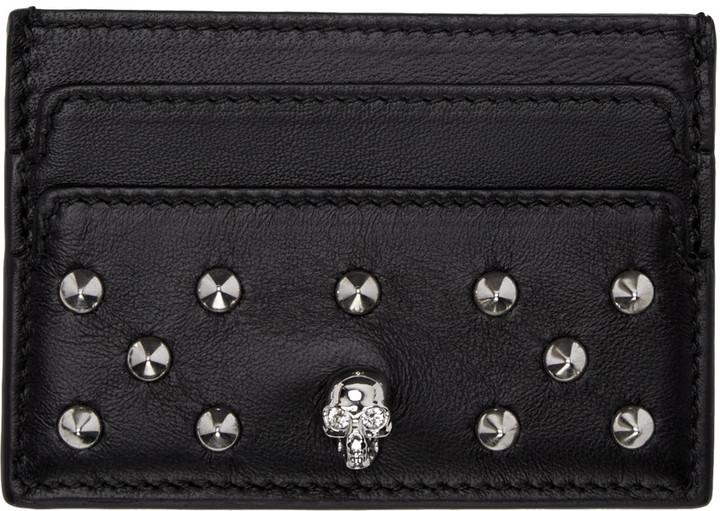 Alexander McQueenAlexander McQueen Black Skull Studded Card Holder