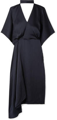 Roland Mouret Meyers Wrap-effect Asymmetric Hammered Silk-satin Midi Dress - Navy