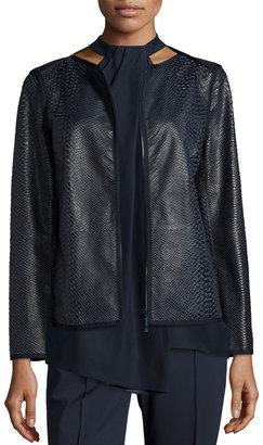 Lafayette 148 New York Keaton Embossed Leather Grosgrain-Trim Jacket, Shadow Multi $454 thestylecure.com