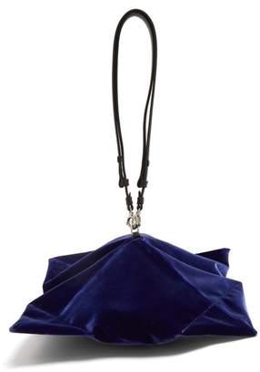 Maison Margiela Lantern Leather Handle Velvet Clutch - Womens - Navy