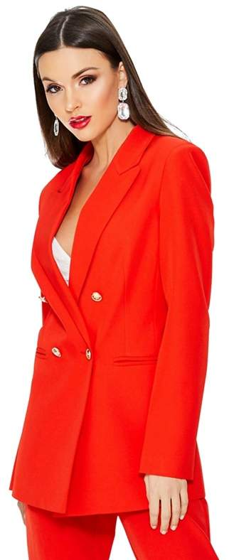 Red Gold Button Detail Suit Jacket