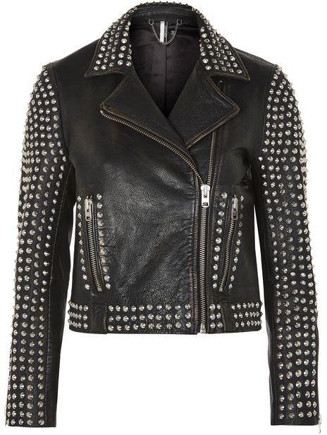 TopshopTopshop Studded leather biker jacket