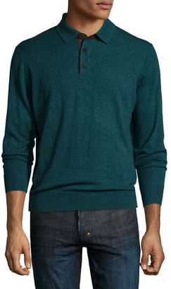 Neiman Marcus Cashmere Long-Sleeve Polo Sweater $325 thestylecure.com
