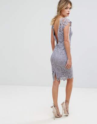 Paper Dolls Midi Lace Dress with Scalloped Back