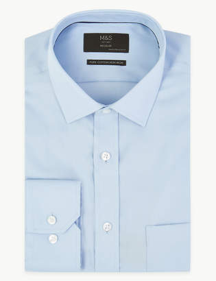 M&S CollectionMarks and Spencer Regular Cotton Twill Non-Iron Shirt