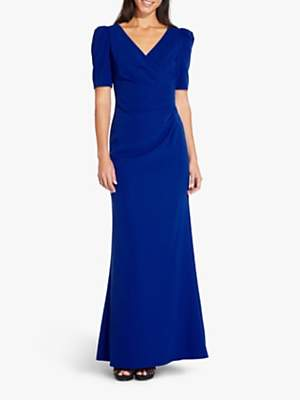 Adrianna Papell Elbow Sleeve Long Gown Dress, Royal Sapphire