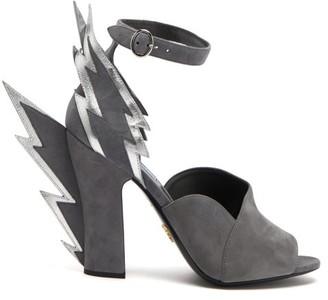 Prada Lightning Bolt Suede Sandals - Womens - Grey Silver
