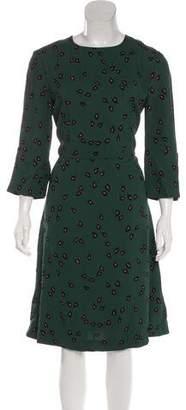 Marni Long Sleeve Printed Midi Dress