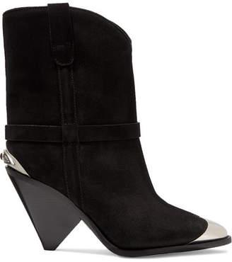 714d7b84840 Isabel Marant Lamsy Embellished Suede Ankle Boots - Black
