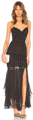 Nicholas Polka Dot Drawstring Layered Gown