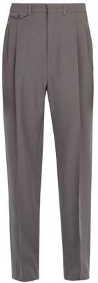 Lemaire High Rise Wool Trousers - Mens - Grey