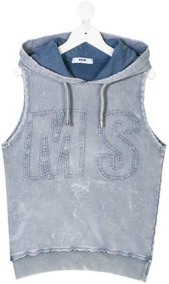 MSGM distressed-effect hooded vest