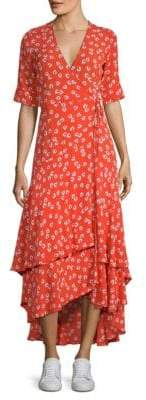 Ganni Floral Wrap Midi Dress
