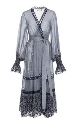 Alexis Theo Lace-Trimmed Cotton-Blend Voile Wrap Dress