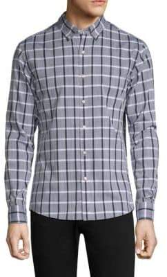 Michael Kors Camlin Checkered Cotton Button-Down Shirt