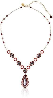 Miguel Ases Garnet and Swarovski Station Pendant Necklace