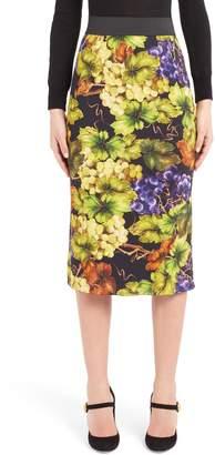 Dolce & Gabbana Grape Print Pencil Skirt