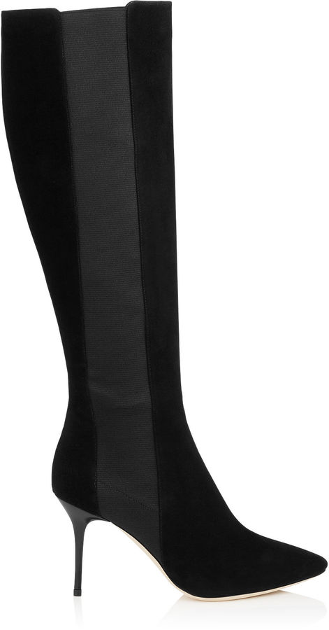 Jimmy Choo FAITH 85 Black Suede Stretch Knee High Boots