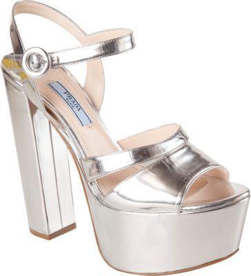 Prada Metallic Platform Sandal