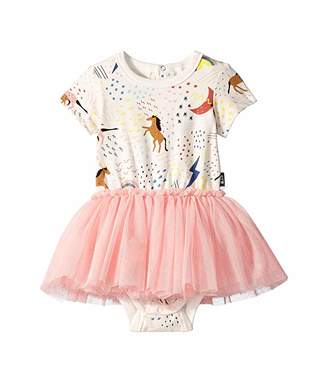 Rock Your Baby Unicorn Rainbow Short Sleeve Circus Dress (Infant)