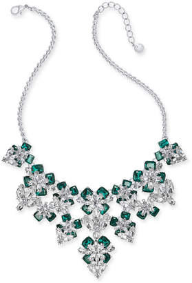 """Charter Club Silver-Tone Emerald Crystal & Stone Flower Statement Necklace, 17"""" + 2"""" extender"""