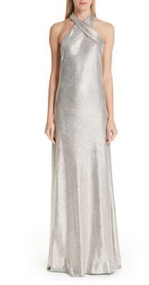 GALVAN Twist Halter Neck Metallic Gown
