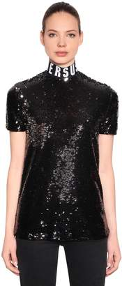 Versus Sequined Top With Logo Collar