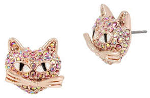 Betsey Johnson Pave Crystals Cat Stud Earrings