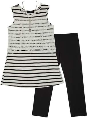 Amy Byer Iz Girls 7-16 IZ Striped Tank Top & Legging Set with Necklace