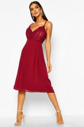 boohoo Crochet Lace Top Chiffon Midi Dress